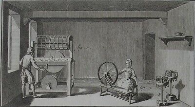 1765 Fine Diderot Engraving - THREAD MANUFACTURE - Workshop and Spinning Wheel