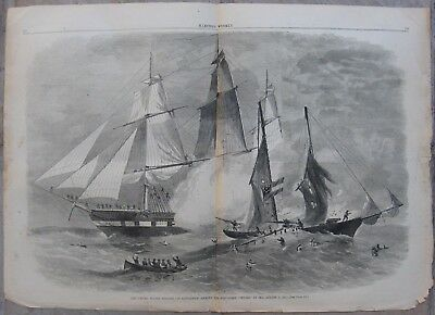 1861 Harper's Weekly Engravings - CIVIL WAR - USS St. Lawrence & Union Blockade