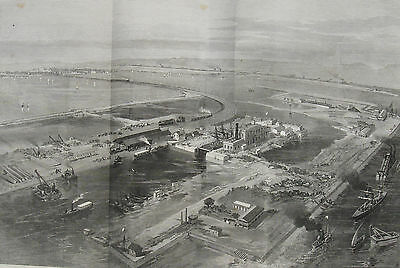 1869 Large Antique Engraving - Entrance to the New Suez Canal - Bird's Eye View