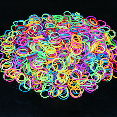 600PCS Rainbow Braided Rubber Bands Loom Refill DIY Bracelet Rubber Clips Kit