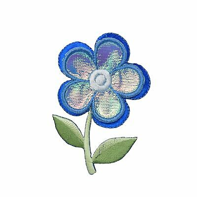 Iron On Embroidered Applique Patch Lavender 3-D Layered Flower 153646-A