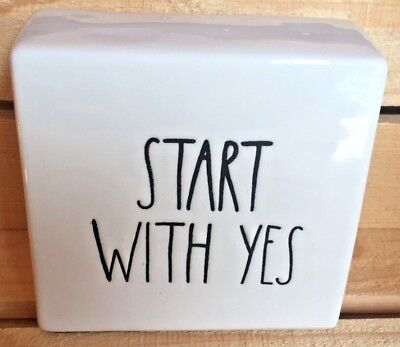 """~Rae Dunn~""""START WITH YES""""~Office/Desk Paperweight~New~"""