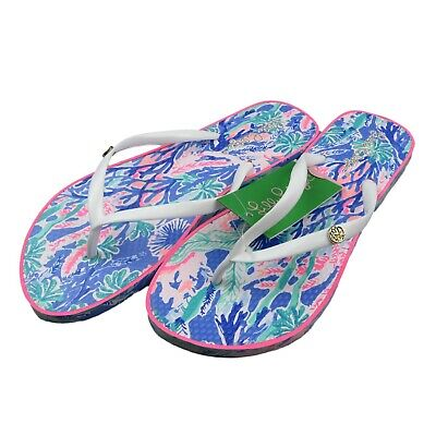 a2b1bf443 Lilly Pulitzer Pool Flip Flops Multi Color Jet Stream Size 7 8 Womens New