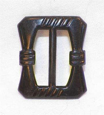 Art Deco Black Celluloid Buckle Rectangle Great for Vintage Clothing