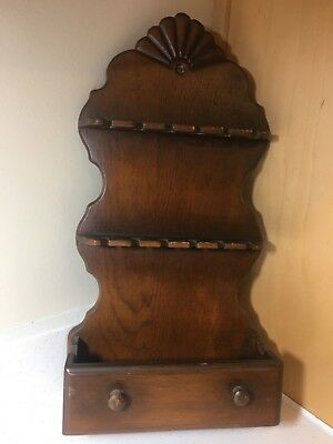 Vintage Decorative Wood Souvenir Collector Spoon Display Rack-Holds 12 Spoons