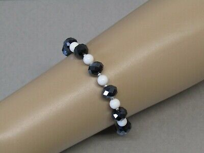 White Agate & Black Czech Fire polished Crystal Bead Bracelet Very Sparkly!!
