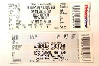 2 Australian Pink Floyd OCT 16 2007 Concert Tickets Rose Garden Portland OR