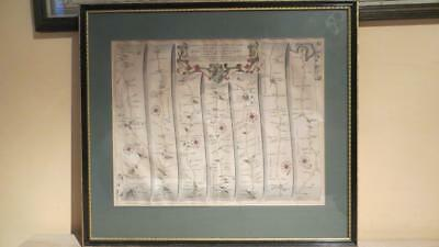 """c1675  """"ROAD FROM OXFORD TO SALISBURY, POOLE"""" J. OGILBY-H/C MAP (NICELY FRAMED))"""