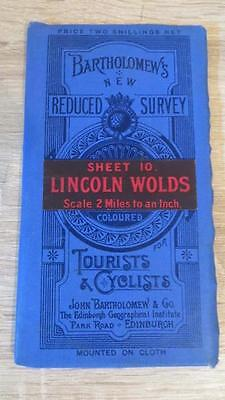 "c1920 ""BARTHOLOMEW'S MAP OF LINCOLN WOLDS - SHEET 10"" 1/2 INCH TO ONE MILE"
