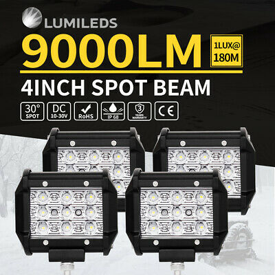 4x 4inch Philips LED Work Light Bar Spot Driving Lamp Offroad 4WD Ford SUV ATV