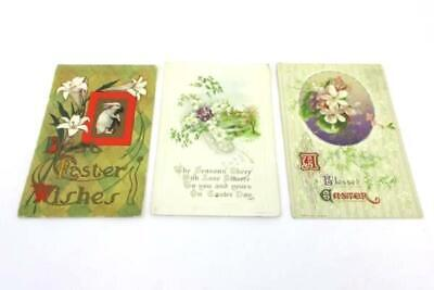 3 Antique Early 1900's Vintage Postcards Easter Flowers Lilies Postmarks