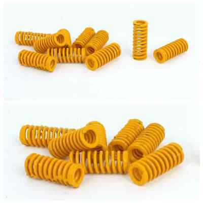 10pcs 8mm OD 20mm Long Light Load Stamping Compression Mould Die Spring Yellow