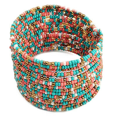 WOMEN WIDE BOHO BEADS MULTI LAYER ROW OPEN END CUFF BRACELET BANGLE CHARM Cord