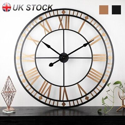 40cm Outdoor Garden Metal Large Skeleton Frame Roman Numeral Black Wall Clock