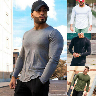 UK Mens Fit Long Sleeve T-Shirt Top Casual O-Neck Tops Shirt Muscle Tee Summer