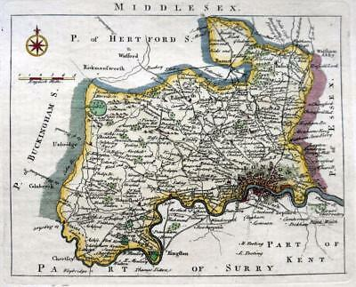 MIDDLESEX LONDON BY JOHN ROCQUE GENUINE ANTIQUE  COPPER ENGRAVED MAP  c1769