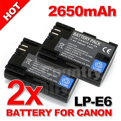 2 Pack Battery LP-E6 for Canon EOS 5D Mark III II 6D 60D 7D Mark 70D 80D 2650mAh