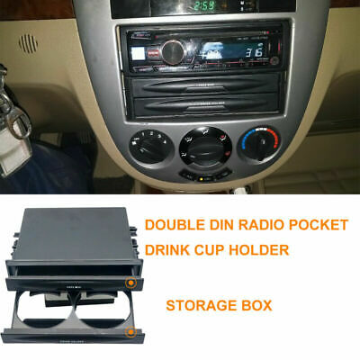Universal Car Auto Double Din Radio Pocket Drinking Cup Holder & Storage Box