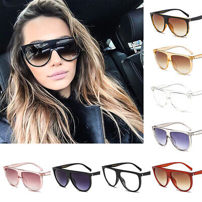 Women Fashion Oversized Sunglasses Cat Eye Flat UV400 Eyewear Mirror Square