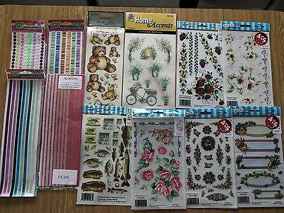 4 stick on ribbon packs+6 floral rub-ons+teddy & bunny+fish & stamp design packs