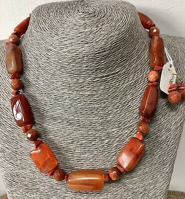 Redesigned, Upcycled  & Hand Crafted Carnelian Necklace & Earrings
