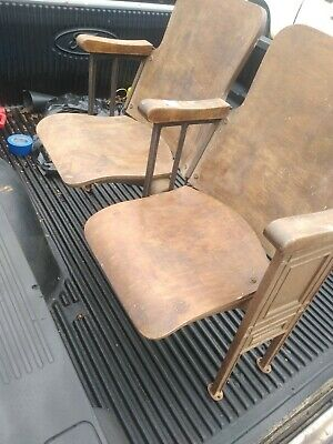 1920's Cast Iron Double-Seat Theater Style Chairs With Stained Birch Wood