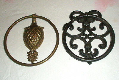 Lot 2 Vintage Door Knockers Cast Iron Brass Plated
