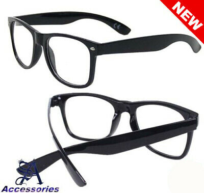 Square Frame Clear Lens Glasses Fashion Fake Geek style UV Protection Black