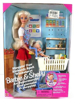 ** Nib Barbie Doll 1995 Shoppin' Fun Shelly Kelly Foreign Edition