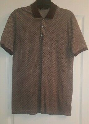 87df1b7695d7 GUCCI AUTHENTIC Mens Brown Diamante Polo Shirt Size M (Pro Tailored)