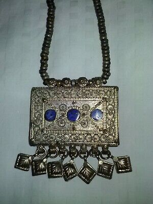Antique Rajasthan India Heirloom Silver Gypsy Tribal Prayer Amulet Box Necklace