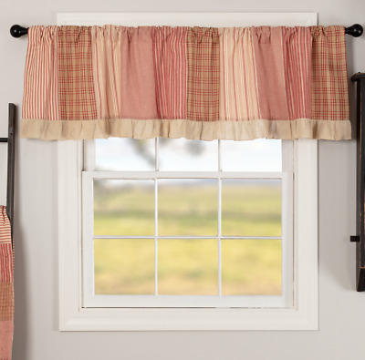 SAWYER MILL RED PATCHWORK Valance Window Curtain Tan Farmhouse VHC 19x72