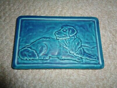 Tyge Green glazed tile green turquoise rectangle arts crafts style dog raised im