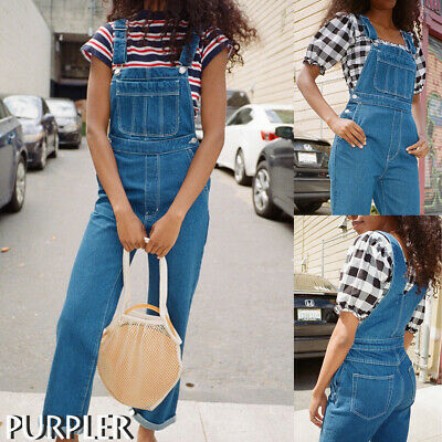 Womens Denim Dungarees Jeans Ladies Slim Fit Overall Jumpsuit Pants Trousers 14