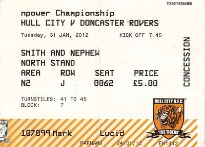 Ticket - Hull City v Doncaster Rovers 31.01.12
