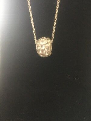 """Sterling Silver .925 Cubic Zirconia Round Slide Pendant Signed SCBS 18"""""""