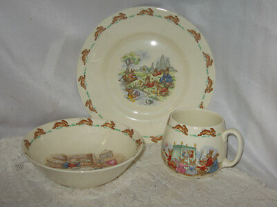 ROYAL DOULTON BONE CHINA BUNNYKINS 3 PIECE SET CHILD'S PLATE, BOWL & CUP 1960's