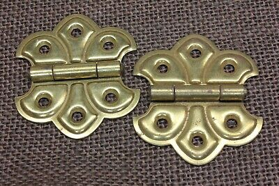 2 Cabinet Door Hinges butterfly fleur de lis brass color plated old vintage NOS