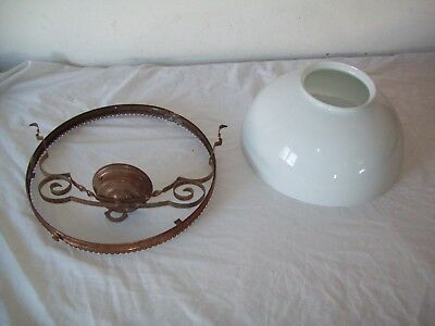 "antique victorian  hanging oil lamp 14"" milkglass dome shade w/ ring &parts"