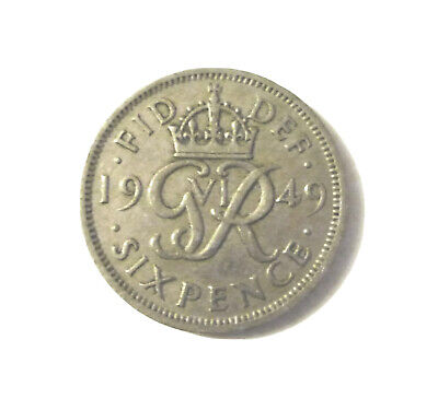 sixpence George VI silver coin GB 1948 1949 1950 1951 UK birthday present