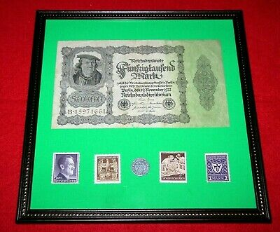 WW2 German Rare 5 Rp Coin & Stamps 50,000 banknote in frame