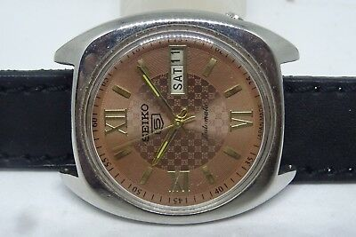 *vintage Seiko 5 Day&date Automatic Brown Color Dial Stylish Figure Man's Watch