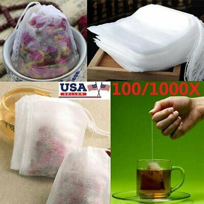 100/1000x Empty Teabags String Heat Seal Filter Paper Herb Loose Tea Bags Teabag