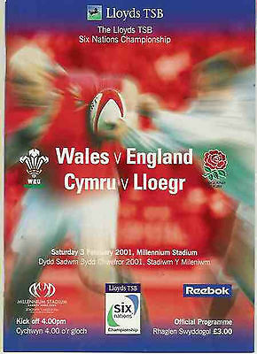 WALES v ENGLAND 2001 RUGBY PROGRAMME SIX NATIONS in CARDIFF