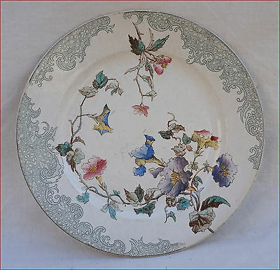 French Flowered Plate Transferware Faience E Bourgeois Paris Late 19th C