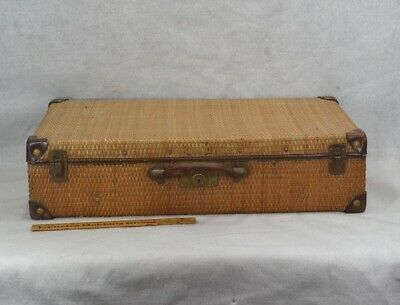 antique suitcase luggage wicker straw  leather 36x14x6 Victorian original