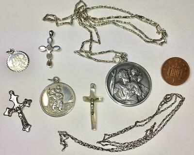 3 x STERLING SILVER ST. CHRISTOPHER PENDANTS / NECKLACES + 3 x SMALL CRUCIFIXES