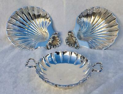 Pair Fine Quality Antique Heavy Silver Plated Shell Dish & Mappin & Webb Flute