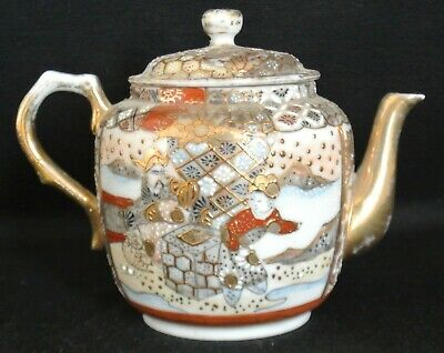 Nippon Royal Satsuma Moriage Hand-Painted Small Tea Pot