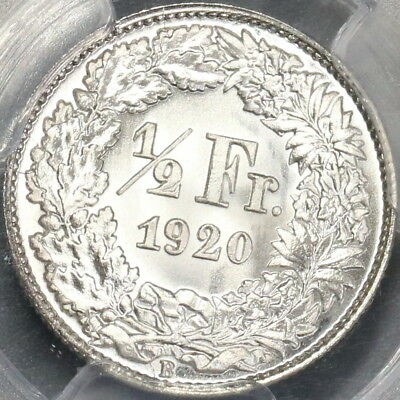 1920 PCGS MS 67 Switzerland Silver 1/2 Franc Gem BU Swiss Coin (18022801D)